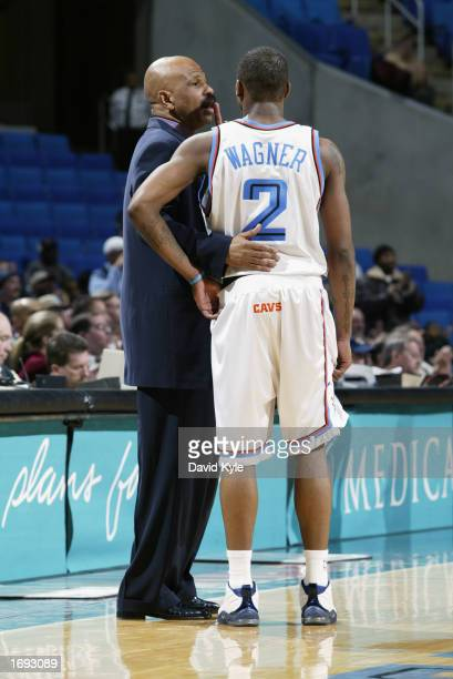 Head coach John Lucas of the Cleveland Cavaliers talks to guard Dajuan Wagner during the game against the Milwaukee Bucks at Gund Arena on December 9...