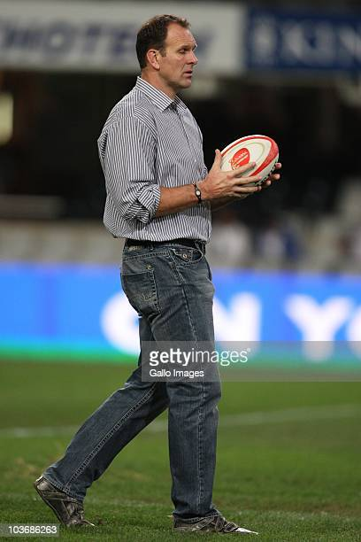 Head coach John Plumtree of the Sharks during the Absa Currie Cup match between the Sharks and GWK Griquas at Absa Stadium on August 27, 2010 in...