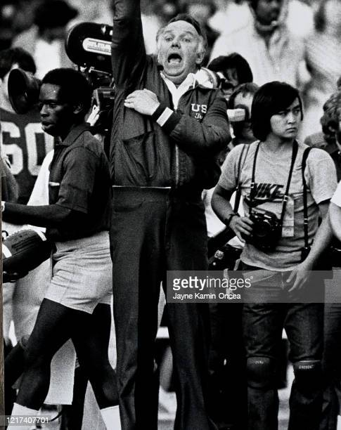 Head coach John Robinson of the USC Trojans celebrates after defeating the UCLA Bruins in a game at the Los Angeles Memorial Coliseum in Los Angeles...