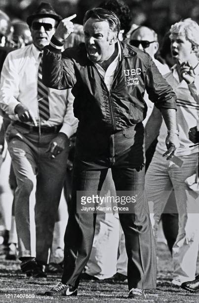 Head coach John Robinson of the USC Trojans yells on the sidelines during a game against the UCLA Bruins at the Los Angeles Memorial Coliseum in Los...