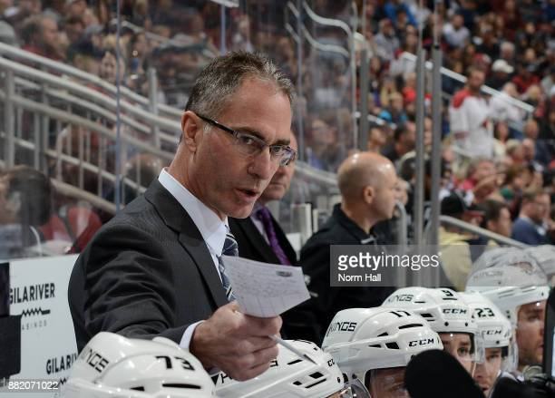 Head coach John Stevens of the Los Angeles Kings talks to his players on the bench during against the Arizona Coyotes at Gila River Arena on November...