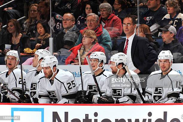 Head Coach John Stevens of the Los Angeles Kings watches as a play develops during the third period against the Columbus Blue Jackets on December 15...