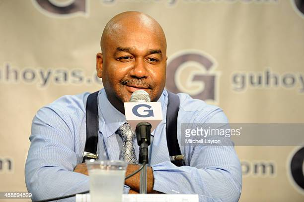 Head coach John Thompson III of the Georgetown Hoyas address the media after a college basketball game against the High Point Panthers on December 5...