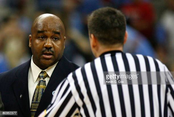 Head coach John Thompson III of the Georgetown Hoyas argues a call with an official during the 2nd round against the Davidson Wildcats in the 2008...