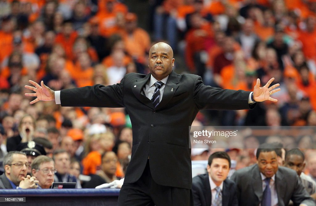Head coach John Thompson III of the Georgetown Hoyas gestures from the sideline during the game against the Syracuse Orange at the Carrier Dome on February 23, 2013 in Syracuse, New York.