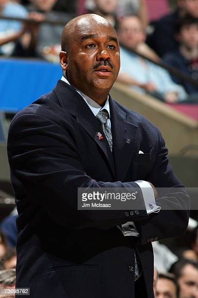 Head coach John Thompson III of the Georgetown Hoyas looks on from the sidelines against the University of North Carolina Tar Heels during the NCAA...
