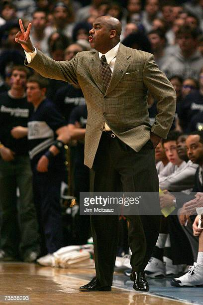 Head coach John Thompson III of the Georgetown Hoyas shouts from the sidelines against the Notre Dame Fighting Irish during the semifinals of the Big...