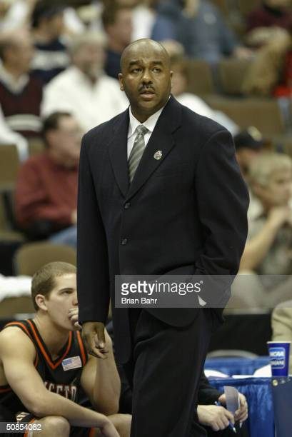 Head coach John Thompson of the Princeton Tigers watches from the sideline during a first round game in the NCAA Men's Basketball Tournament against...