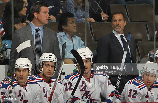 Head coach John Tortorella and assistant coach Mike Sullivan of the New York Rangers lead the team against the Colorado Avalanche at the Pepsi Center...