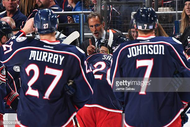 Head Coach John Tortorella of the Columbus Blue Jackets instructs his players during a timeout in the second period of a game against the Anaheim...