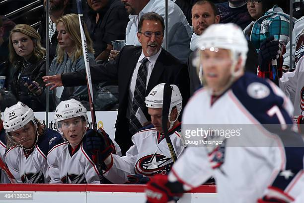 Head coach John Tortorella of the Columbus Blue Jackets leads his team against the Colorado Avalanche at Pepsi Center on October 24 2015 in Denver...