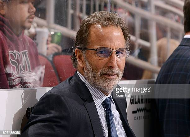 Head coach John Tortorella of the Columbus Blue Jackets looks on from the bench during first period action against the Arizona Coyotes at Gila River...