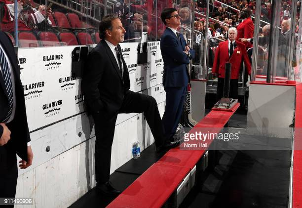 Head coach John Tortorella of the Columbus Blue Jackets looks on from the bench against the Arizona Coyotes at Gila River Arena on January 25 2018 in...