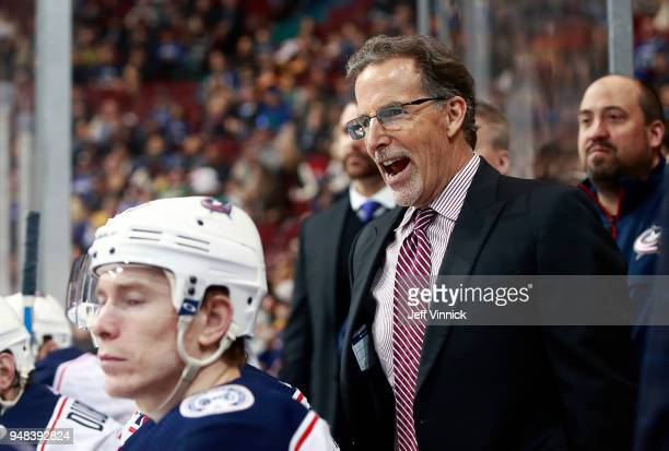 Head coach John Tortorella of the Columbus Blue Jackets looks on from the bench during their NHL game against the Vancouver Canucks at Rogers Arena...