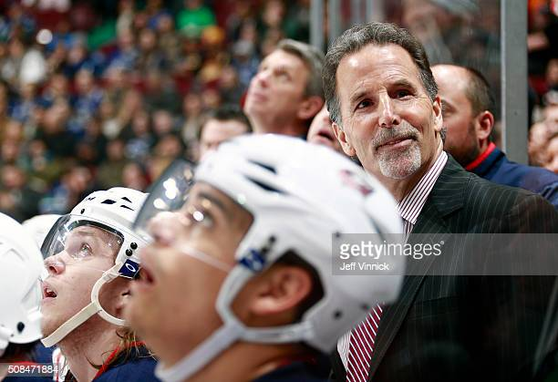 Head coach John Tortorella of the Columbus Blue Jackets on the bench against his former team the Vancouver Canucks during their NHL game at Rogers...