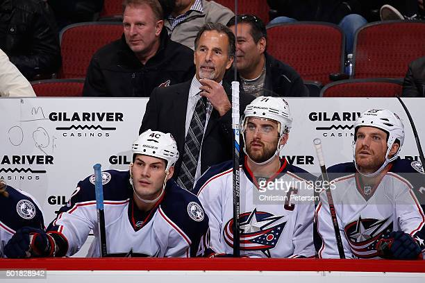 Head coach John Tortorella of the Columbus Blue Jackets reacts on the bench during the second period of the NHL game against the Arizona Coyotes at...
