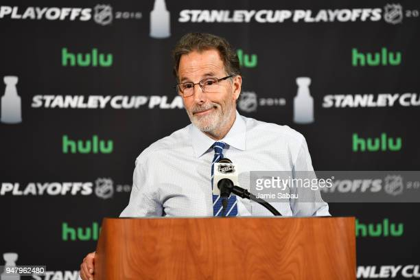 Head Coach John Tortorella of the Columbus Blue Jackets speaks during the postgame press conference following Game Three of the Eastern Conference...