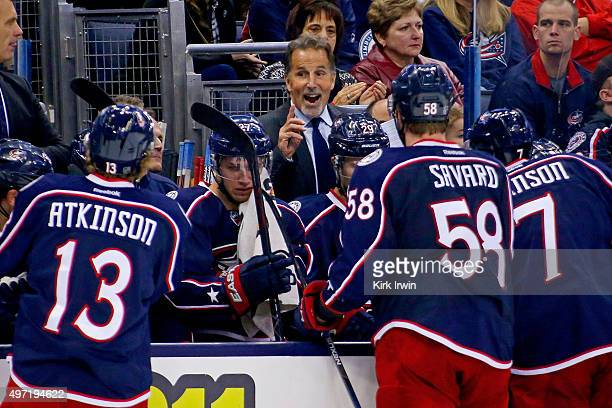 Head Coach John Tortorella of the Columbus Blue Jackets speaks to his players during a time out in the game against the Arizona Coyotes on November...