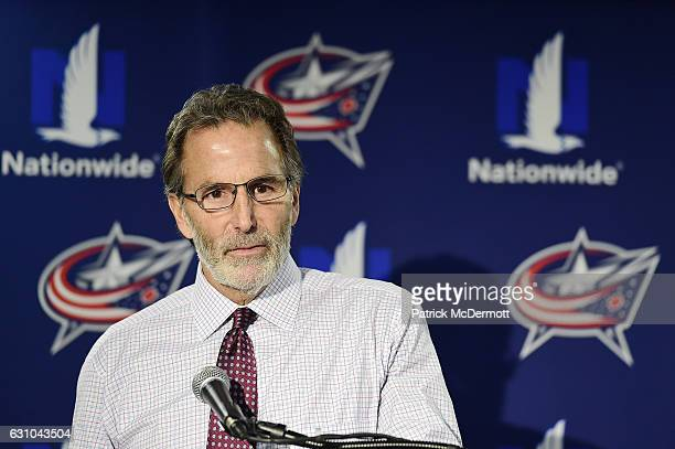 Head coach John Tortorella of the Columbus Blue Jackets speaks to the media after the Washington Capitals defeated the Blue Jackets 50 during an NHL...