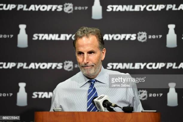 Head Coach John Tortorella of the Columbus Blue Jackets speaks with the media following Game Three of the Eastern Conference First Round against the...