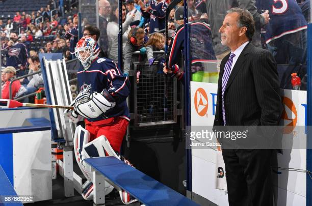 Head Coach John Tortorella of the Columbus Blue Jackets stands on the bench as his team comes out to play against the Winnipeg Jets on October 27...