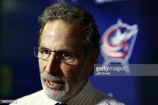 Head coach John Tortorella of the Columbus Blue Jackets talks to reporters before their NHL game against the Vancouver Canucks at Rogers Arena...