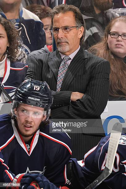 Head Coach John Tortorella of the Columbus Blue Jackets watches his team play against the Winnipeg Jets on October 31 2015 at Nationwide Arena in...