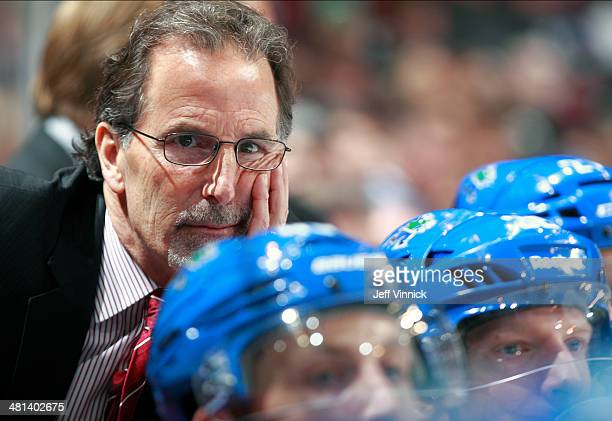 Head coach John Tortorella of the Vancouver Canucks looks on from the bench during their NHL game against the Anaheim Ducks at Rogers Arena March 29...