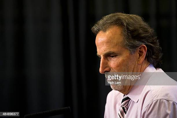 Head coach John Tortorella of the Vancouver Canucks reflects on a question during his postgame press conference after defeating the Calgary Flames 51...