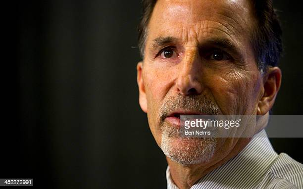 Head coach John Tortorella of the Vancouver Canucks talks to media after his team lost to the Dallas Stars at Rogers Arena on November 17 2013 in...
