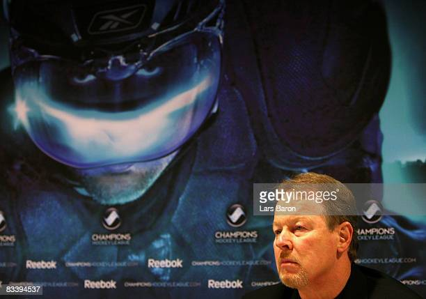Head coach John van Boxmeer of Bern is seen during a press conference after the IIHF Champions Hockey League match between SC Bern and Espoo Blues at...