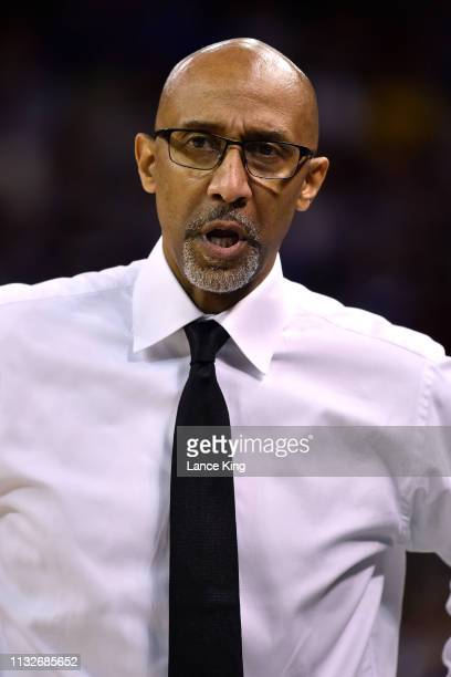Head coach Johnny Dawkins of the Central Florida Knights looks on in the first half of their game against the Duke Blue Devils during the second...