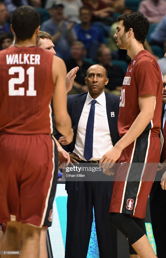 Head coach Johnny Dawkins of the Stanford Cardinal looks on during a first-round game of the Pac-12 Basketball Tournament against the Washington Huskies at MGM Grand Garden Arena on March 9, 2016 in Las Vegas, Nevada.