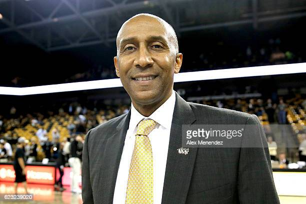 Head coach Johnny Dawkins of the UCF Knights is seen during a NCAA basketball game at the CFE Arena on November 14 2016 in Orlando Florida