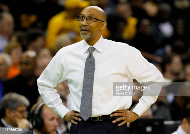 Head coach Johnny Dawkins of the UCF Knights reacts against the Virginia Commonwealth Rams in the first half during the first round of the 2019 NCAA...