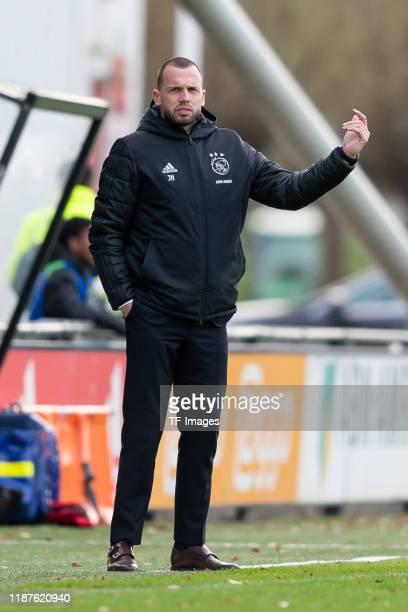 head coach Johnny Heitinga of Ajax Amsterdam U19 gesturesduring the UEFA Youth League match between Ajax Amsterdam U19 and FC Valencia U19 on...