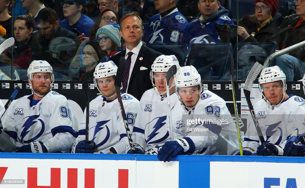 Head coach Jon Cooper and Tampa Bay Lightning players watch the closing moments of their 5-3 loss to the Buffalo Sabres in an NHL game on February 13, 2018 at KeyBank Center in Buffalo, New York.