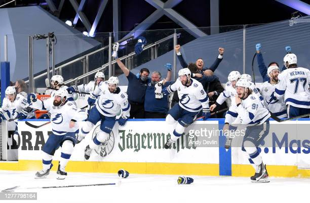 Head coach Jon Cooper and the Tampa Bay Lightning celebrate after defeating the Dallas Stars 2-0 in Game Six of the NHL Stanley Cup Final to win the...