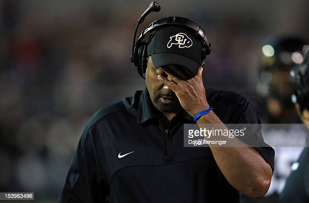 Head coach Jon Embree of the Colorado Buffaloes reacts as he leads his team against the Arizona State Sun Devils at Folsom Field on October 11 2012...
