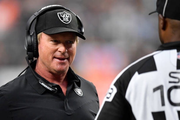 Head coach Jon Gruden of the Las Vegas Raiders argues a call during the second half of a game against the Miami Dolphins at Allegiant Stadium on...