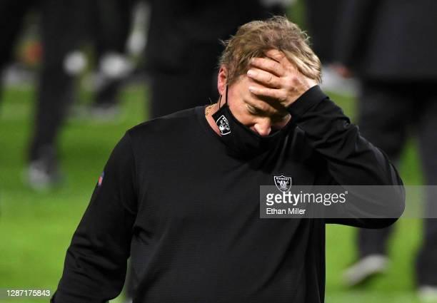 Head coach Jon Gruden of the Las Vegas Raiders walks off the field after his team's 35-31 loss to the Kansas City Chiefs at Allegiant Stadium on...