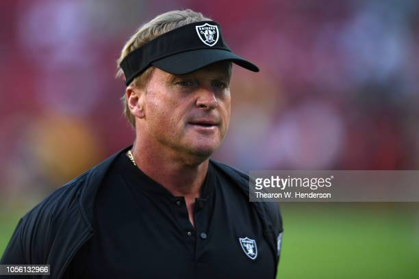Head coach Jon Gruden of the Oakland Raiders looks on during warm ups prior to their game against the San Francisco 49ers at Levi's Stadium on...