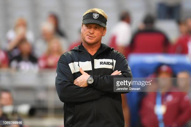Head coach Jon Gruden of the Oakland Raiders looks on prior to the NFL game against the Arizona Cardinals at State Farm Stadium on November 18 2018...