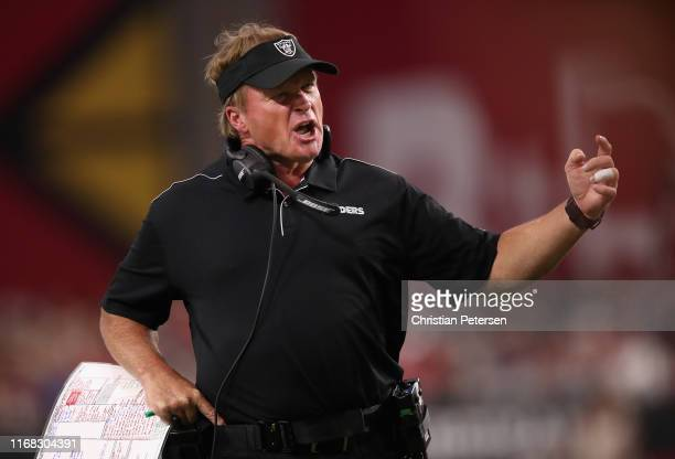 Head coach Jon Gruden of the Oakland Raiders reacts during the first half of the NFL preseason game against the Arizona Cardinals at State Farm...