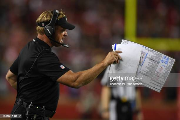 Head coach Jon Gruden of the Oakland Raiders reacts from the sidelines against the San Francisco 49ers during their NFL game at Levi's Stadium on...