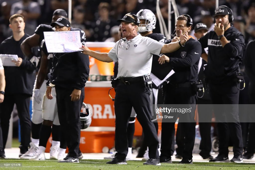 Head coach Jon Gruden of the Oakland Raiders reacts to a play against the Los Angeles Rams during their NFL game at Oakland-Alameda County Coliseum on September 10, 2018 in Oakland, California.