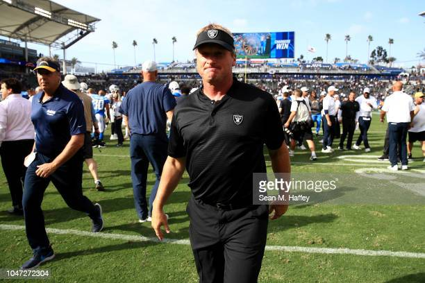 Head coach Jon Gruden of the Oakland Raiders walks off the field after a game against the Los Angeles Chargers at StubHub Center on October 7 2018 in...