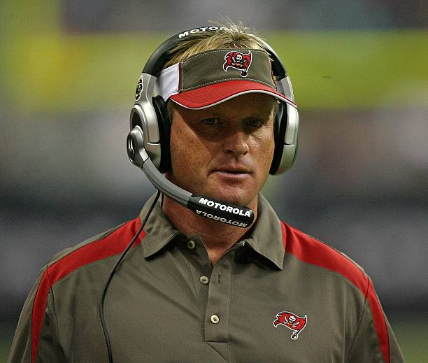 Head coach Jon Gruden of the Tampa Bay Buccaneers looks on from the sidelines during a football game against the Houston Texans Aug. 28, 2008 at...