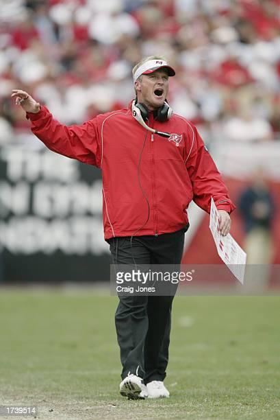 Head Coach Jon Gruden of the Tampa Bay Buccaneers reacts to play during the NFC Divisional Playoff game against the San Francisco 49ers at Raymond...