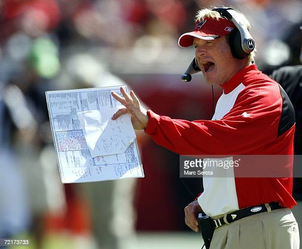Head coach Jon Gruden of the Tampa Bay Buccaneers shouts instructions to his team against the Cincinnati Bengals on October 15 2006 at Raymond James...
